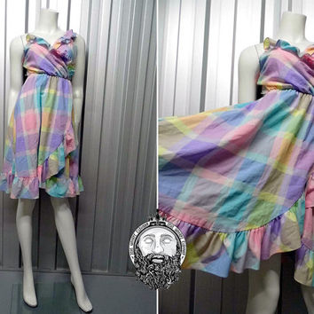 Vintage 90s Grunge Pastel Dress Pink and Blue Plaid Dress Frilly Dress Checked Dress Pastel Goth Kawaii Clothing Multicolored Dress Wrap
