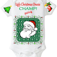 "Funny Christmas Onesuit ""Ugly Christmas Sweater Onesuit Champ 2015"" Baby Boy / Baby Girl / Baby's First 1st Christmas / Holiday Baby Shirt"