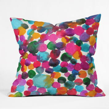 Joy Laforme Watercolor Polka Dot I Throw Pillow