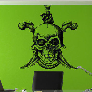 Jolly Roger Piracy Pirate Flag Skull Bones Wall Sticker Decor Room Decal tr233