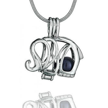 Sterling Silver Elephant Pearl Pendant Cage & Chain