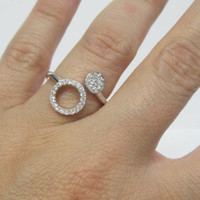 Double Circle Double Open Ring, Double Circle CZ Dress Ring, Double Circle Ring, CZ Stacking Ring, Cocktail Ring, 925 Silver CZ Round Ring