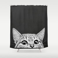 You asleep yet? Shower Curtain by Laura Graves