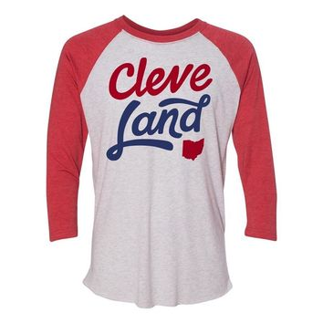 3/4 sleeve red script CleveLand baseball jersey