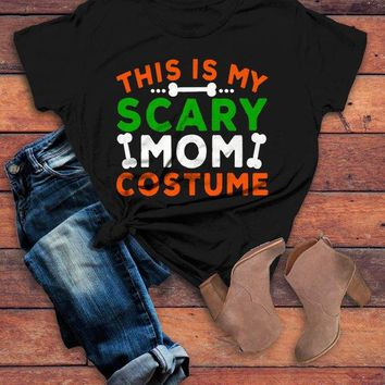 0f48fa90e Women's Funny Halloween T Shirt This Is My Scary Mom Costume Tee