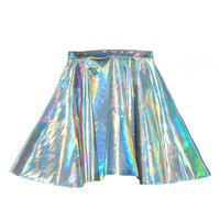 Holographic Hologram Leather Circle Skirt