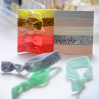 5 Ribbon Hair Ties, Neutral Glitter by Lucky Girl