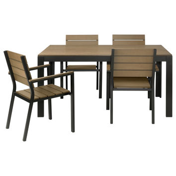 FALSTER Table and 4 armchairs - black/brown  - IKEA