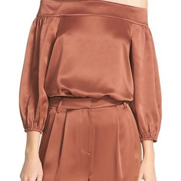 Tibi Off the Shoulder Silk Top | Nordstrom