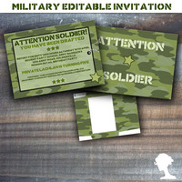 Party Printable Editable Military Army Soldier Boot Camp Party Invitation 5x7in