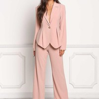 Blush High Rise Button Trim Slacks