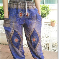 Blue Peacock Printed Yoga Pants Hippie Baggy Boho Gypsy Pantalon Tribal Hipster Plus Size Aladdin Clothing Baggy Unisex Harem Wide Legs