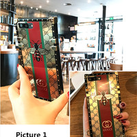 GUCCI Fashion electroplating iPhone Phone Cover Case For iphone 8 8plus iPhone6 6s 6plus 6s-plus iPhone 7 7plus