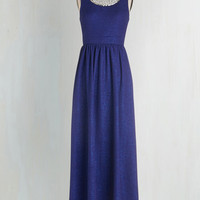 Long Sleeveless Maxi Beyond Compare Dress in Sapphire