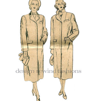 1930s Long Tailored Coat with Welt Breast & Flap Hip Pockets VOGUE 6323 Vintage Sewing Pattern Bust 36 UNCUT NO Envelope