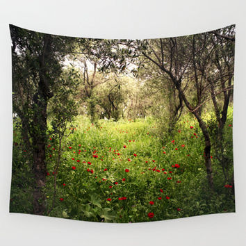 Green tapestry, landscape tapestry, nature wall art, photo tapestry, wall hanging, rustic decor, oversized art, outdoor tapestry, poppies