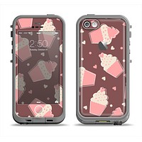 The Pink Outlined Cupcake Pattern Apple iPhone 5c LifeProof Fre Case Skin Set