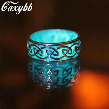 Caxybb 2016 Retro Style Ring Shine In The Dark May Be Geometric Shaped Mayan Mysterious Shining Rings For Women ZM-58