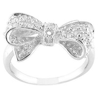 - Silver Silver Plated  Cz Bow Ring  - 7.0