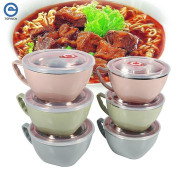 Multifunctional Double Layer Heat Insulation Stainless Steel Instant Noodles Bowl with Handle