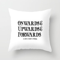 Onwards&Upwards&Forwards Throw Pillow by Moop