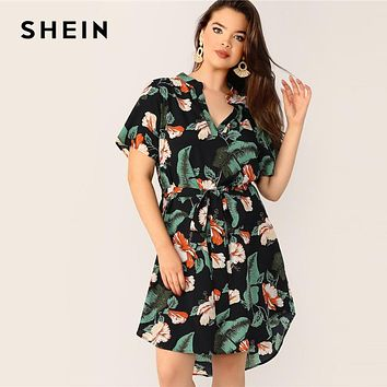 Floral Print Multi-color Belted Midi Dress
