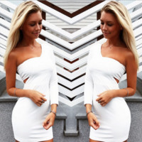 White One Shoulder Off Bodycon Dress B0014333