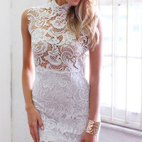 White Semi Sheer Lace Crochet Floral Dress