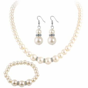 Classic Imitation Pearl Silver Plated Elegant Pearl Jewelry Set