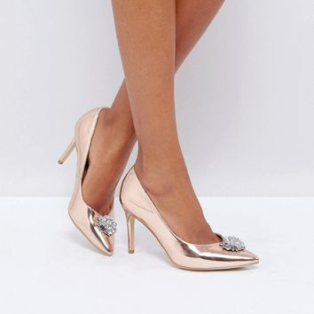 New Look Embellished Pointed Toe Heeled Shoe at asos.com