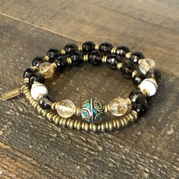 Energy and Abundance' Smoky Quartz, Citrine and Tibetan Capped Turquoise Guru Bead 27 Bead Wrist Mala Bracelet