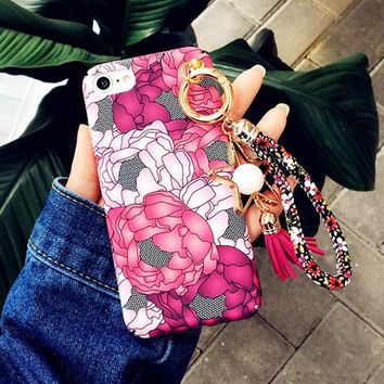 New Luxury Colorful Rosas Floral Case For iphone 7 Case Hard PC Phone Cases Flower Tassels Pendant Cover For iphone 7 6 6S Plus -0405