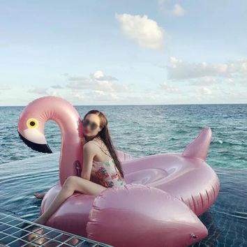 150cm Giant Inflatable Flamingo Pool Float Rose gold Pink Ride On Swimming Ring For Adults Summer Water Holiday Party Toy