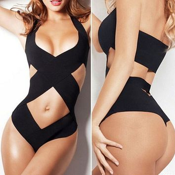 Back and White Swimsuit Bandage  Female Sexy Monokini Swimwear High Cut Cross Stretchy one piece Bahting Suit For Wo