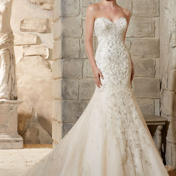 Mori Lee 2790 Strapless Beaded Fit and Flare Wedding Dress