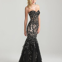 Black Beaded Lace & Tulle Strapless Mermaid Prom Dress - Unique Vintage - Cocktail, Pinup, Holiday & Prom Dresses.