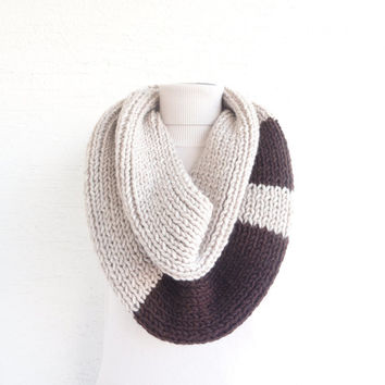 Knit Chunky Infinity Scarf Loop Circle Thick Knit Scarf Unisex Light Beige Dark Brown Women's Scarf Men's Scarf