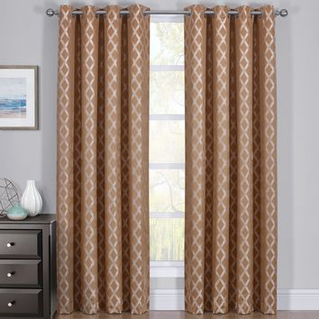 100% Blackout Curtain Panels Rosaline - Woven Jacquard Triple Pass Thermal Insulated (Set of 2 Panels)