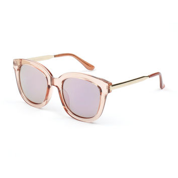 Women's Oversize Mirrored Lens Horned Rim Sunglasses|粉框镜面太阳镜 全智贤同款