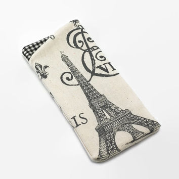 Sunglasses Case, Eyeglass Case, Glasses Case in Paris Eiffel Tower Fabric