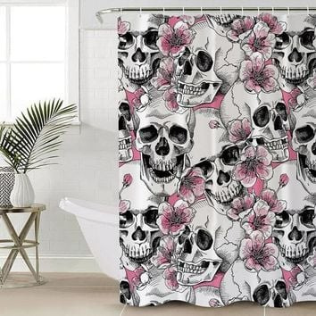 Sugar Skull Shower Curtain Pink Floral Bathroom Cherry Blossoms Waterproof
