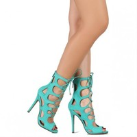 aqua caged lace up cut-out heels