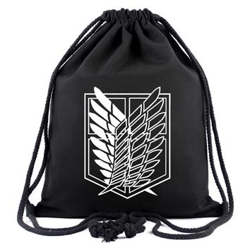 Cool Attack on Titan Games Movies  Backpack Japanese Anime Designer Canvas Drawstring Bags for Men Women Travel Organizer Pouch Gifts AT_90_11