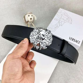 Versace New fashion lion head buckle leather belt Black