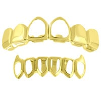 Bottom Fangs Top Grillz 14k Yellow Finish Set Sale