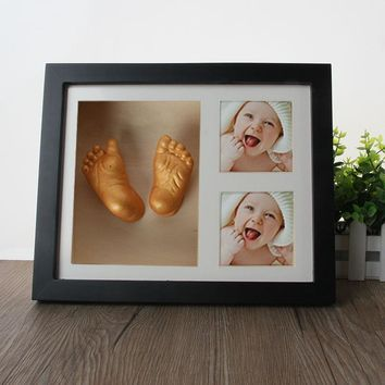 Hot Sale Cute Baby Photo frame DIY 3D handprint or footprint  souvenir Safe Inkpad non toxic ceremony gift for baby