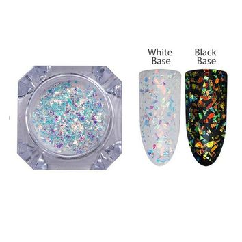 AB Color Nail Glitter Flakies Irregular Star Round Iridescent Sequins Powder Nail Art Decoration Chrome