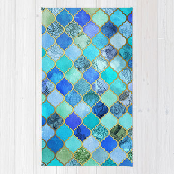 Cobalt Blue, Aqua & Gold Decorative Moroccan Tile Pattern Rug by Micklyn