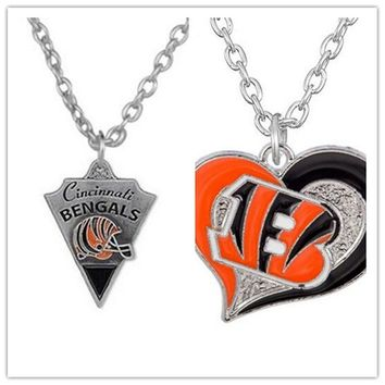 2 Style Alloy Sports Enamel Football Team Cincinnati Bengals Pendant Necklace With 500+50mm Chain For Men & Women 20pcs/lot