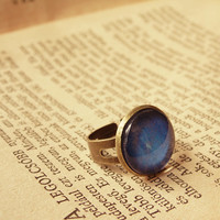 Neptune vintage ring, adjustable ring, solarsystem ring, galaxy jewelry, glass dome jewelry, romantic jewelry, blue ring
